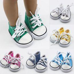 Zapatillas de lona rosa bebé online-43cm Born Baby Doll zapatos de lona atan para arriba las zapatillas de deporte Blanco Negro Verde Rosa Rojo Calzado para chicas de 18 pulgadas de altura muñecas