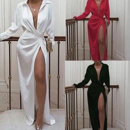 robe de femme courte d'or Promotion SummerAutumn Femmes solides sexy Robes col V à manches longues taille haute robes pour femmes Casual Lapel club de Split Neck Nuit Parti Jupe longue