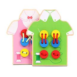 Brinquedos de mão on-line-Brinquedos Educativos para Crianças Desgaste Botões de Costura Jogo Coordenação Mão-olho Movimento Fino Básico Life Skills Formação Brinquedos