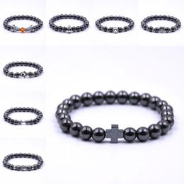 Perline di gioielli da baseball online-Dhl libero non magnetico bracciale unisex ematite perline di pietra manubri braccialetto moda bracciali accessorio dei monili misura per gli uomini donne g120s y
