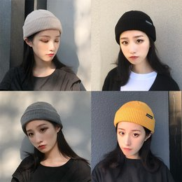 bd27971bab5 Korean version of pure-color knitted wool hat Female autumn winter  inschaoya leisure cap landlord melon skin cap man korean cap fashion female  outlet