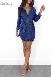 Denim-taschenkleid online-Frauen-Denim-Taschen Cowboy Kleid Frauen-Sommer-Art lose hohe Taille Verband Hemdkleid Jeans plus Größe kleiden freies Verschiffen