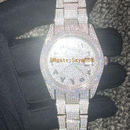 Árabe mostrador do relógio Diamond Watch Luxo para fora congelado Assista ETA 2824 homens automáticos 41mm de prata impermeável 904L inoxidável Set Diamante CZ de