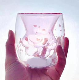 süße starbucks Rabatt 2019 niedliche Katzenklaue Glas Becher Cartoon Kaffee Milch Becher Tasse Doppelschicht Glas Teetasse für Starbucks Mädchen Geschenke Drop Shipping