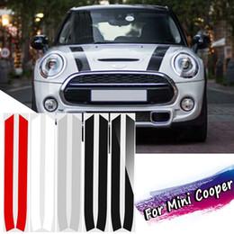 2020 adesivi del cofano 2 PZ Motore Bonnet Hood Stripe Trim Sticker Decalcomanie Per Mini Cooper Per Mini Cooper S R50 R52 R53 R55 R56 R57 sconti adesivi del cofano
