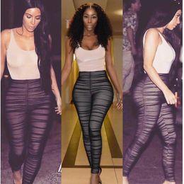 d6b8d16ccd Kim Kardashian Mesh Jumpsuit Women Sexy Ruched Mesh Yarn Splicing Black Jumpsuit  Romper Draped Detail Clubwear Stretchy Bodysuit