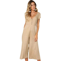 23168d1be49 Sexy Women Casual Solid Jumpsuit Short Sleeves V-neck Backless Wide Leg  Cropped Pants Elegant Solid Cropped Rompers Trousers