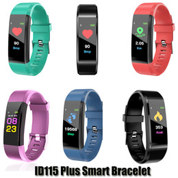 wristband fitness waterproof Coupons - ID115 Plus Smart Bracelet Fitness Tracker Smart Pedometer Watch Heart Rate Watch Band Smart Wristband For Apple Android Cellphones With Box