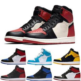 2019 design basquetebol sapatos masculinos desportivos Novo 1 OG Homem-Aranha Banido Dedo de Largo Chicago 1s Azul Royal, enquanto tênis de basquete tênis Despedaçaram Encosto, mas design de esportes tamanho 13 design basquetebol sapatos masculinos desportivos barato
