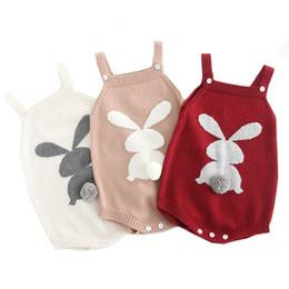 2019 roupas bonitos do bebê para o inverno 2019 Bonito Coelho Malha Macacão de Inverno Das Crianças Do Bebê Meninas Sem Mangas Macacão Roupa Roupa Criança Recém-nascido One-Pieces Macacão roupas bonitos do bebê para o inverno barato