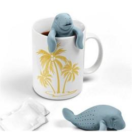 Manatee forma Silicone filtro de chá saco de fixação saco de chá filtro de chá colher de chá teastrainer Eco amigável e reutilizável ST280 de Fornecedores de colher de filtro de chá de silicone