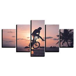 fahrrad malerei öl Rabatt 5 Stücke Kombinationen HD Kühle Fantasie Sonnenuntergang Racing Fahrrad Ungerahmt Leinwand Malerei Wanddekoration Gedruckt Ölgemälde poster