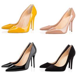 2019 scarpe da sposa raso a pieghe Ace scarpe da donna di design di lusso rosso tacco alto tacchi 8cm 10cm 12cm Nude nero rosso in pelle scarpe a punta scarpe da sera