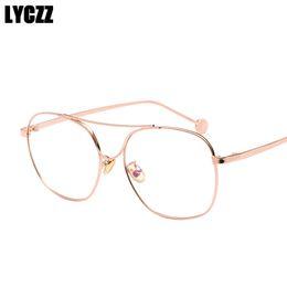 8e7163af50 LYCZZ Retro Men Women Metal Glasses Frame Clear Lens vintage Plain Mirror  Eye glasses For Male Female Optical Myopia Frames