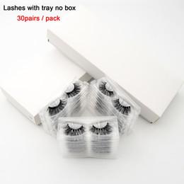 Scatola completa di trucco online-visofree 30 paia / pacco 3D Ciglia di visone con vassoio Senza scatola Ciglia fatte a mano a striscia piena Visone Ciglia finte Ciglia per il trucco cilios