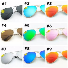 sun shaped glasses Promo Codes - Factory Wholesale Top Quality Fashion Design Aviator Sunglasses 9 Colors Protection Sun Glass For Men Women All Face Shapes Free Shipping