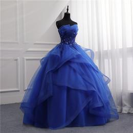 vestido de noiva branco sem alças Desconto Vestidos de noite formais longo vestido meninas elegante azul branco strapless mangas vestidos de noite priness para a festa novo design