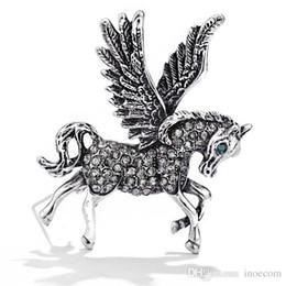 Vintage Flying Horse Broches Para Las Mujeres 2019 Moda Rhinestone Animal Broche Pin hombres Traje Corsage Broches Joyería desde fabricantes