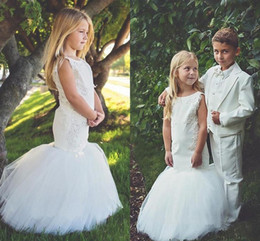 Vestidos de niña sirena online-Mermaid Flower Girls Dresses for Wedding Party Trumpet Kids Little Girl Pageant Communion Dresses Cute robe fille mariage