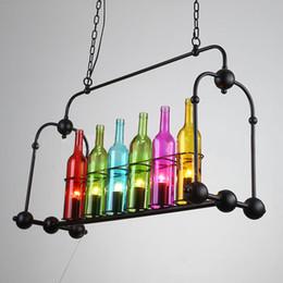 2019 araña de cristal de vino led American modern country botella de vino simple araña de cristal luz LED para sala de estar comedor restaurante hotel hall bar café araña de cristal de vino led baratos