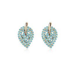 Серьги онлайн-Ms Betti  stud earrings for bridal and girls leaf shape Czech crystals for Wedding gifts Bijoux drop ship