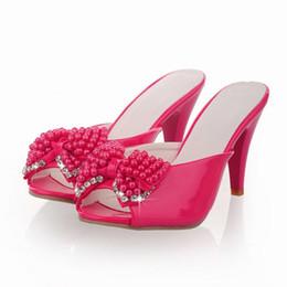 2019 вечерние ботинки Women Sandals Party Sandals Slides Chunky Red Evening Heels Summer Peep Toe Beading Ladies Crystal White Shoes Size 9 10 3001 скидка вечерние ботинки