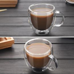 Tazze semplici online-Tazzine da caffè trasparenti Tazze da caffè Tazze Bevanda da birra Tazza da ufficio Bicchiere doppio Tazza Tazze stile semplice