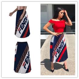 Vestidos de moda pliegues online-Mujeres FF Cartas Plisado Falda 2019 Moda Elástico Retro Cintura Vestidos Largos Diseñador Faldas Plisadas Niñas Moda Bouffancy Vestido Nuevo C42205