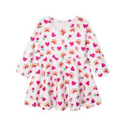 Baby Kleid Mode Baby Mädchen Langarm Regenbogen Herz Print Prinzessin Kleid Kleinkind Kind Freizeitkleidung von Fabrikanten