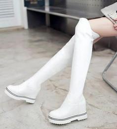 Botas de terciopelo rosa online-Nueva llegada Hot Sale Specials Super Fashion Sexy Plus Velvet Trend Leather Aumentó Pink Snow Knight Platform botas de rodilla de gran tamaño EU33-43