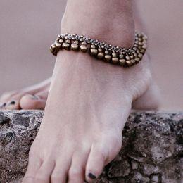 Deutschland Vintage Messing Armband Fuß Schmuck Pulseras Retro Fußkettchen für Frauen Mädchen Knöchel Bein Kette Charm Jingle Bell Beach Boho Schmuck supplier brass bell bracelet Versorgung