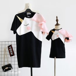 Correspondant vêtements fille rose mère en Ligne-Maman et moi Tshirt Robes Maman Maman Filles Mère Fille Vêtements Licorne Imprimer Rose Famille Assorties Tenue Dame Enfants Robe