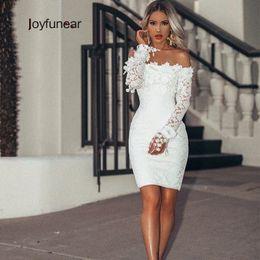 Transparente mini vestido branco on-line-Joyfunear 2019 Bordado Rendas Vestido Branco Mulheres Bodycon Festa Sexy Vestidos de Pétala Manga Transparente Mini Vestido Elegante Vestidos