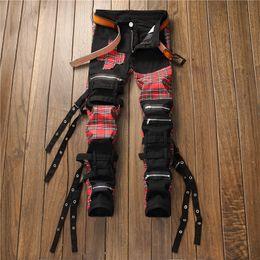 цилиндр с Скидка Spring and Autumn New Men's Piece-Up Straight Cylinder Multi-Band -Free Black Jeans