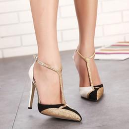 d272db8a27f473 CPI Printemps Nouveau Strass Talons Hauts Femmes Pompes Sexy Pointu Talons  Aiguilles Marque Mix couleur patchwork Or Chaussures Habillées EE-197  chaussures ...