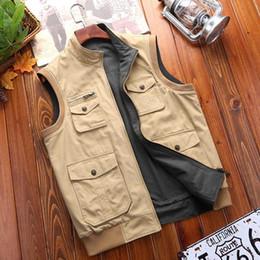 doppelter taschenmantel für männer Rabatt Autumn Fashion Vest Double Side Wear BaumwollSleeveless Jacken-Mantel-Mann-beiläufige Weste mit Multi Big Pocket Plus Größe M-3XL