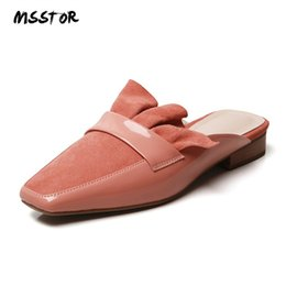 Pisos rosa para niños online-MSSTOR Ruffles Zapatillas Mujer Verano Cuadrado del dedo del pie Ocasional Conciso Colores mezclados Mujeres Mulas Kid Suede Zapatillas planas 2019