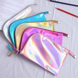 Grande bolsa de cosméticos caso de lápis on-line-Novo padrão criativo Laser Bag Lápis Cor Simplicidade Student Cosmetic Bag Grande Capacidade Envelope armazenamento caso Pen New Style 7zbH1