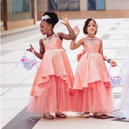 Schwarzes erröten hochzeitskleid online-African Black-Mädchen-Spitze Appliqied eine Linie Blumen-Mädchen-Kleid Erröten rosa Prinzessin Ballkleid Mädchen formale Hochzeit Kleid-Festzug-Partei-Kleid