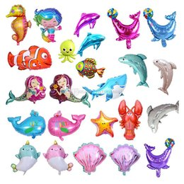 2019 teppichrollen großhandel 19 Arten Seetier-Ballon scherzt Minifolienballongeburtstagsfeier-Dekor-Baby der Kinder spielt Seepferdchen-Haifisch-Clown-Fisch-Tierballon