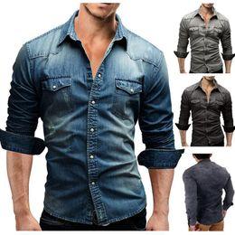 camisas de bolso duplo homens Desconto Homens europeus e americanos de bolso duplo dos homens casuais de mangas compridas camisa de denim camisa dos homens casuais outono streetwear