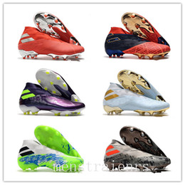2020 chaussures de football messi 2020 Designer Mens Laceless Messi Nemeziz 19+ FG Hommes Junior Youth Football Bottes Active Red Chrome hautes chaussures de soccer Crampons promotion chaussures de football messi