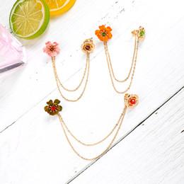 Color naranja único online-Venta al por mayor OrangeGreenPink Flowers Unique Glass Stamen Layered Chain Unilateral Ear Cuff para mujer Gold Color Brass Fashion Jewel
