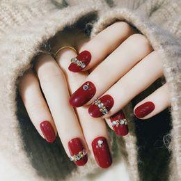 24pcs Acrílico Rojo Con Incrustaciones De Diamantes Falsos Uñas Consejos Adornada Para La Manicura De Uñas Acabado Pre Del Diseño Completo Sobre