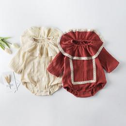 INS Toddler enfants coton lin barboteuse bébé filles dentelle broderie falbala revers manches longues combinaisons pour bébé fille coton montée vêtements ? partir de fabricateur