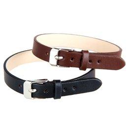 pulseras en linea Rebajas Nuevo diseño clásico en línea Venta caliente colorido cuero real plata acero inoxidable hebilla pulsera 6 PCS / Set