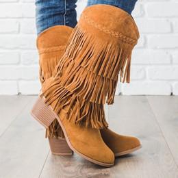 botas étnicas de mujer Rebajas Lasperal Bohemian Boho Heel Boot Ethnic Women Tassel Fringe Faux Suede Leather Botines Mujer Chica Zapatos planos Botines