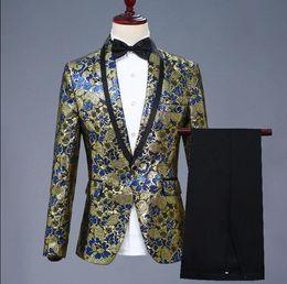 profumo rosso di festa Sconti Giacca da uomo jacquard adatta abiti costumi di scena per cantanti giacca da uomo abiti da ballo stella stile abito rock masculino homme