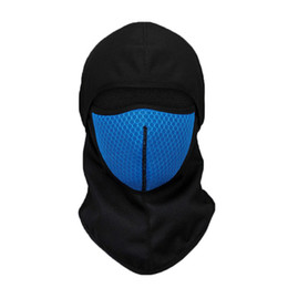ride thermal masks Promo Codes - Windproof Cycling Face Mask Breathable Thermal Replaceable Filter Cotton Active Carbon Masks Riding Cycling Headwear