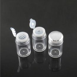 Pulverflaschensieb online-10ml Loose Powder Container Jar durchsichtiger Kunststoff Glitter Behälter kosmetische Puder-Augen-Schatten-Kasten-Flaschen Mit Sichter und Lids